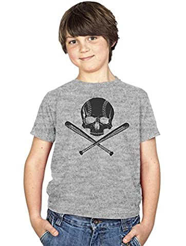 Crazy Dog TShirts - Youth Jolly Baseball Cool Sports T shirt Funny Pirate Design for Kids (grey) M -