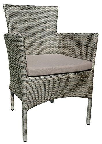 Chaise de Jardin en alumimium et tressage Wicker Plat 7mm Coloris Havane brossé avec Coussin Taupe - Dim : H 84 x L 59 x P 58 cm