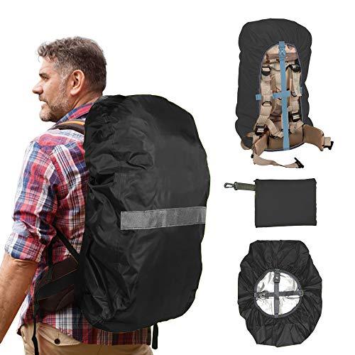 OBES Regenschutzhülle Rusack 30-40L, Wasserfester Rucksackschutz mit 2 rutschfesten Kreuzschnallen,Reißverschlusstasche, Reflektorstreifen,für Trekking,Wandern,Camping (Schwarz, M)