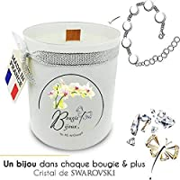Bougie Bijoux Orchidée Blanche avec Cristal de Swarovski. Parfum de Grasse et mèche en bois. Le bijou caché se dévoile après 30 minutes ! Coffret CADEAU bracelet