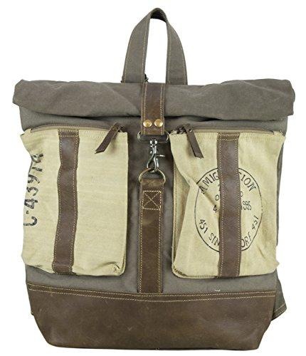 Sunsa Damen Herren Vintage Tasche Rucksack Schultertasche aus Canvas / Segeltuch mit Leder