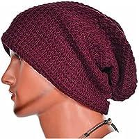Malloom® Hombres Mujeres Universal Cálido Invierno de Punto de esquí Beanie Hat cráneo Slouchy Gorra Sombrero (Rojo)