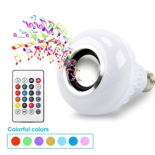 MINGYUECHAO Bluetooth-Lautsprecher LED-Lampe Licht 12W Musik-Player Dimmbare Wireless-LED-Lampe Mit 24 Tasten Fernbedienung Boombox (Color : White) - Wireless Traveler