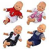 Miunana 4 PCS Fashion Clothes And Pants For 14 -16 Inch New Born Baby Dolls Newborn Dolls