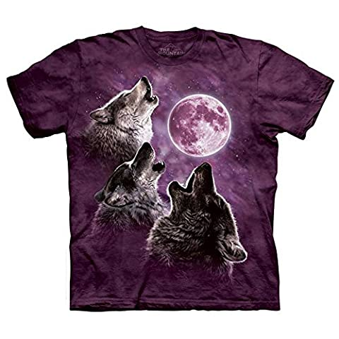 Three Wolf Moon in Purple Adult Unisex 2XL T-Shirt The Mountain