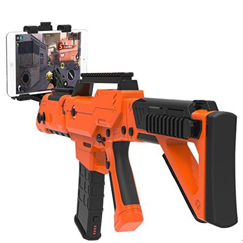 VR Bluetooth Gewehr zum HTC VIVE Schießen Spiel Gamepad Regler Mit Motor Vibration für 4 bis 6 Zoll Smartphone iPhone Samsung Tablet iPad Android (Orange)