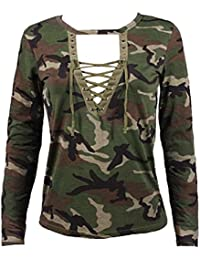 Minetom Mujer Tops Primavera y Verano Manga Larga Camisa Blusa Slim Camuflaje Impresión Casual Shirt