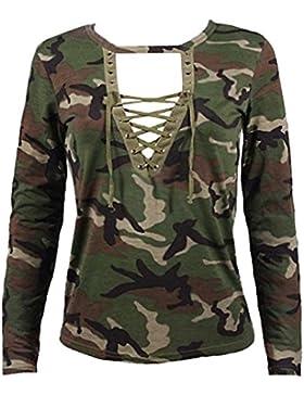 03ba8cf16 Minetom Mujer Tops Primavera y Verano Manga Larga Camisa Blusa Slim  Camuflaje Impresión Casual Shirt