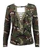 Mine Tom Minetom Mujer Tops Primavera y Verano Manga Larga Camisa Blusa Slim Camuflaje Impresión Casual Shirt Verde ES 42
