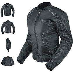 Veste Blouson Femme Moto Nylon Oxford Gilet Thermique Protections noir S