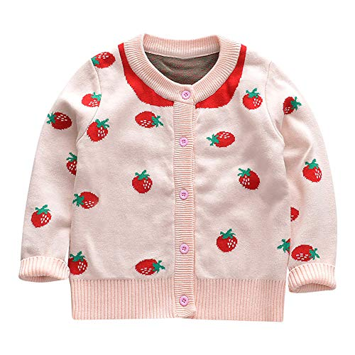 Kleinkind Mädchen Baby Langarm Strickjacke Stricken Pullover Kinder Mädchen Cartoon Erdbeere Muster spezielle warme Shirt Indoor Casual Outdoor-Party Halloween Party Kostüm (80, Rosa) -