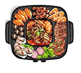 AZHom The Electric Korean Barbecue Hot Pot Maifan Stone Multi-Function and Hot Pot Tabletop Grill and Fondue Dual Pot 2100W [Energy Class A]