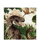 Grünbrauner bunte Dinosaurier Wasser Stoff von Timeless Treasures