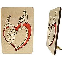 Cartes de vœux mariage, cartes Félicitations Mariage, mariage cartes, carte de vœux Carte en bois avec dictons de vœux de mariage (603)
