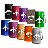 10 Pièce Mix Couleurs Bagages Étiquettes en Alliage D'aluminium avec Cordes en Acier Inoxydable, Étiquettes Valise, Accessoires Voyage