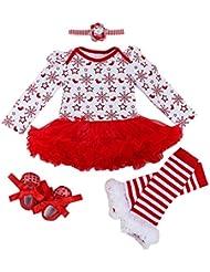 Fille Bébé Barboteuse Set de Vêtements pour Fête - Barboteuse + Bandeau de cheveux + Jambières + Chaussures - Cadeau Parfait - Couleur 4