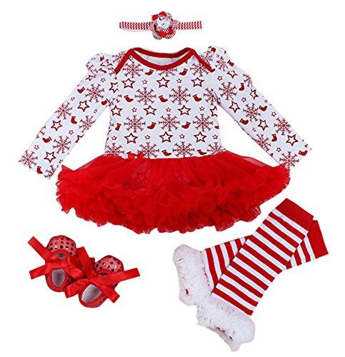 FEOYA - (conjunto de 4)Traje de Navidad Tutú de Tutú Recién Nacidos Bebés Niñas Pijama Falda Estrella Nieves con Mangas Largas Venda de Pelo y Calcetines Zapatos para Fiesta Ceremonia - Navidad Blanco - L(6-12Meses)