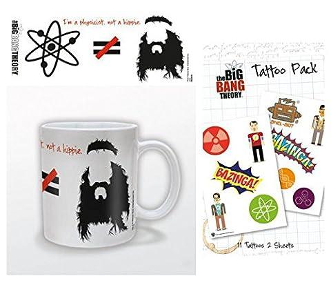 Set: The Big Bang Theory, Je Suis Physicien Pas Hippie, Équasion Tasse À Café Mug (9x8 cm) Et 1 The Big Bang Theory, Paquet De Tatouages (17x10 cm)