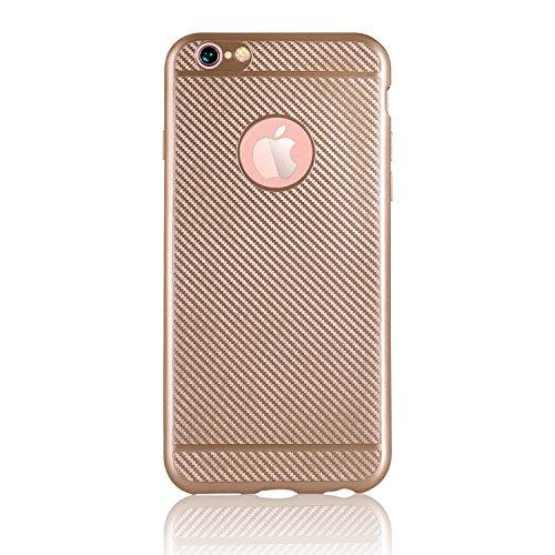 Vandot Luxe Case iPhone 6S Plus Coque arrière en Silicone TPU Cover Transparent avec Bling Diamant Bumper Frame pour iPhone 6 Plus Ultra Fines Paillettes Strass Premium Mat Étui Cristal Case Glitter C Fibre de Carbone-Or