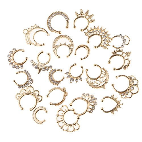 non-brand 21pcs Crystal Nasenpiercing Fake Septum Clip On Hänger Nasenring Schmuck - Gold