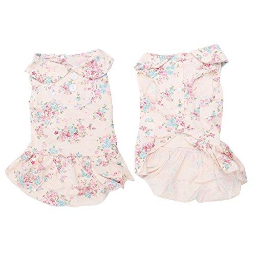 DealMux Haustier-Hundewelpen Bubikragen Spitze-Akzent Kleid Kleidung Pale Pink M (Akzent Spitzen)