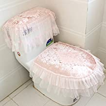 WANG-shunlida el nuevo wc envío establece tres conjuntos de encaje de tela linter sentarse wc tapa del inodoro,luz rosa
