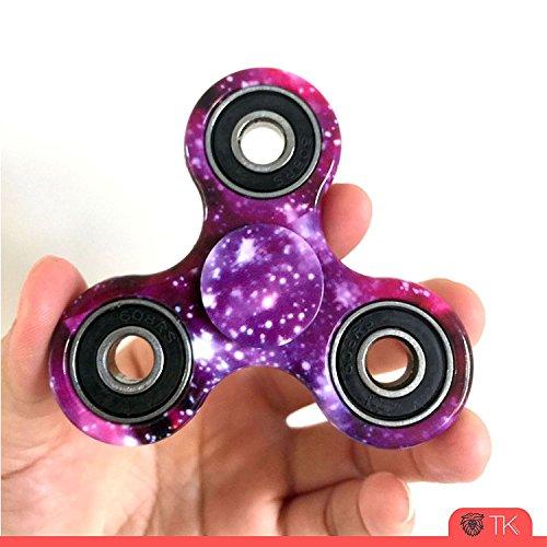 #Fidget Spinner Spielzeug für die Hand / Finger als Ablenkung aus Teilcarbon mit Drei / Trio Kugellager wie bei Inlineskates vergleichbar mit Original von TK Gruppe (schwarz)#
