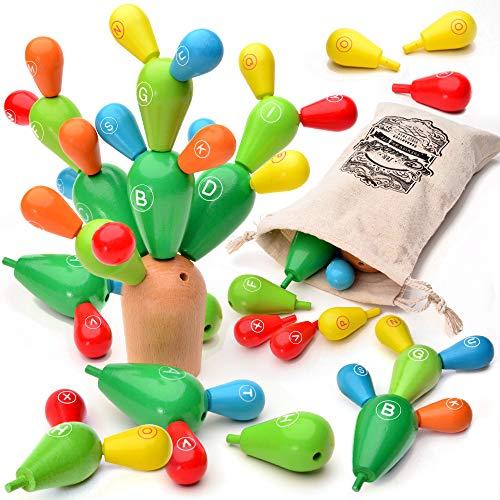 i Spielzeug Kaktus aus Holz - Feinmotorik Förderung Kinder - Balance Kaktus Spiel - Holzspielzeug Steckspiel - Geschicklichkeitsspiel 24-teilig plus Öko Aufbewahrungsbeutel ()