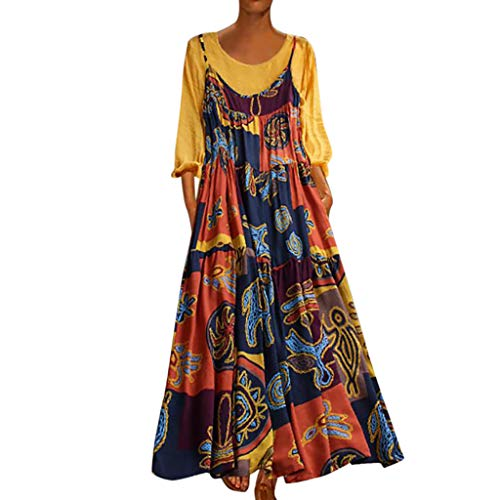 70756998d381d Womens Vintage Cotton Linen Dress Plus Size Ethnic Floral Printed Two  Pieces Maxi Dresses Summer Long Gown Kaftans Plain Long Sleeve Top Boho  Beach ...