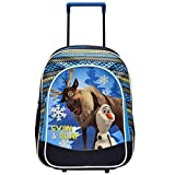 Disney Frozen Sven and Olaf Brand New Classic Designed Multicolored Retractable Handle Eye Catching Kids Rolling Backpack 16 inch