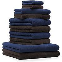 BETZ Juego de 10 toallas PREMIUM 100% algodón en azul marino y marrón oscuro