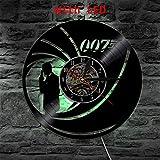 Canvas Vinyl Uhr Wandleuchte Hintergrundbeleuchtung Farbwechsel James Bond 007 LED Jahrgang Handgemacht Geschenk Dekoration Kunstlampe Fernbedienung