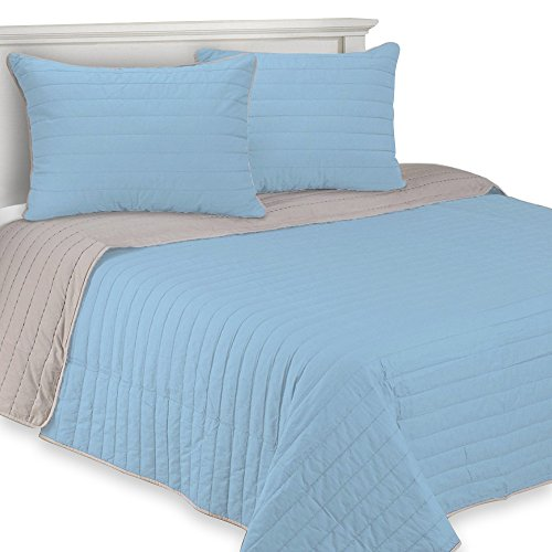 ExceptionalSheets 100% Baumwolle 3-Teilig Brandon Quilt Set, Parent, Parent Twin Hellblau - Sets Clearance Tröster Twin