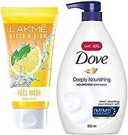 Lakmé Blush and Glow Lemon Fresh Facewash, 100g & Dove Deeply Nourishing Body Wash, 800 ml