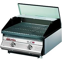 Dolcevita BBQ Euro 2 Barbecue a Gas con Valvola di Sicurezza da Incasso e Appoggio, Nero, 50 x 56 x 33 cm