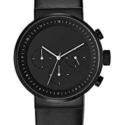 "Projects Watches ""Kiura Black"" Chronograph Quarz Edelstahl IP Schwarz Leder Herren Uhren"