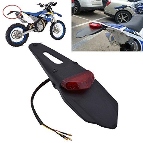 TUINCYN - Luz trasera LED de freno para motocicleta con soporte, en color negro. Una luz de freno para matrícula trasera con lente roja.
