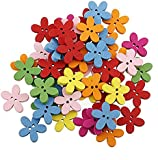 HOUSWEETY 100pcs Colorful Flower Flatback Wooden Buttons Sewing Scrapbooking Craft