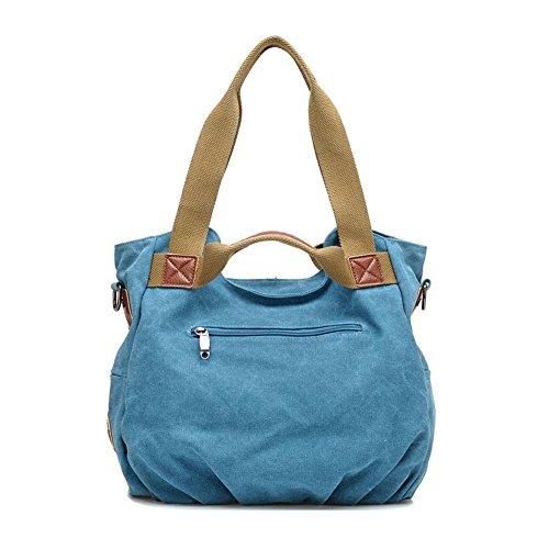 Lässige Canvas Handtasche / Retro Schultertasche für Frauen Blau