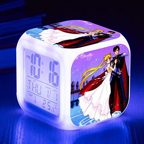 Sailor Moon Bunte Farbe kleine Wecker LED stumm Quartet Student Geschenk WeckerNachttischuhr ()