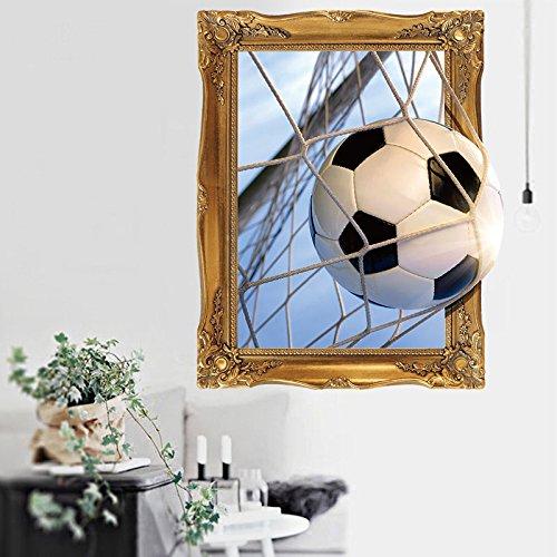 Weaeo 3D-Fußball Ziele Fake Fenster Broken Wall Sticker Für Kinder Zimmer Jungen Schlafzimmer Selbstklebende Wandtattoos Wandbilder Home Decor (Halloween-dekorationen Ziel)