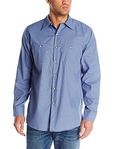 Denim Long Sleeve Work Shirt (Red Kap Herren Men's Geometric Micro-Check Shirt, Long Sleeve Work Utility Hemd, Denim Blue, Lange X-Large)