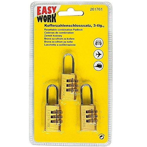 Easy Work 261761 Kofferzahlenschloss 3-teilig