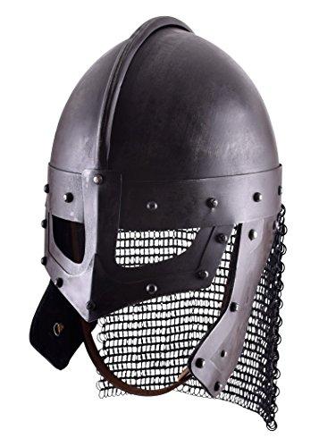 Raven Helm aus Stahl Brillenhelmen Wikingerhelm Dekohelm schaukampftauglich Ritterhelm LARP (Brüniert/L)
