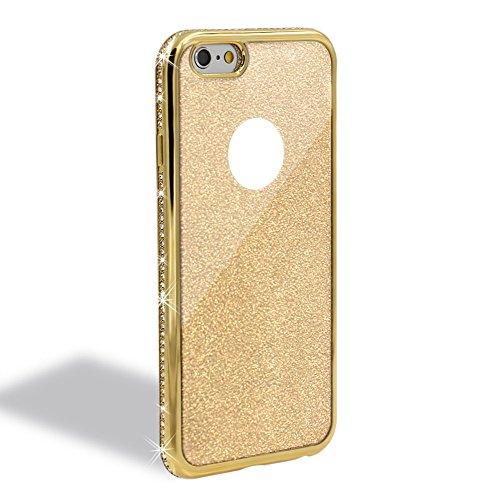 Für iPhone 6S Plus Hülle,Für iPhone 6 Plus Spiegel Hülle Mirror Case,Funyye Luxuriös TPU Handyhülle Gold Plating Silikon Schutzhülle Luxus Glänzend Glitzer Kristall Strass Rahmen Weich TPU Handy Tasch Diamant,Gold