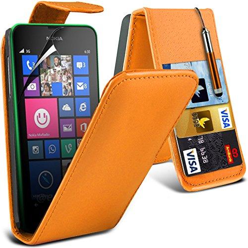 ( Orange ) Nokia Lumia 630 Hülle Abdeckung Cover Case Premium Fitted schutzhülle Tasche PU-Leder-Schlag mit 3 Kredit- / Bank-Karten-Slot-Kasten-Haut-Abdeckung mit LCD-Display Schutzfolie, Poliertuch u Leather Flip + Stylus ( Orange )