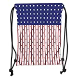 Drawstring Backpacks Bags,USA,American Flag with Stars and Stripes Nationality Independence Day Theme,Violet Blue Ruby White Soft Satin,5 Liter Capacity,Adjustable String Closure,T