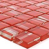 Glas Mosaik Ordabay ROT | Wandfliesen | Mosaik-Fliesen | Glasmosaik | Fliesen-Bordüre | Ideal für die Küche und Badezimmer (auch als Muster erhältlich) (Rot-Muster)