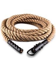 Capital Sports Power Rope - Corde cross-training de musculation/fitness avec crochets (corde de chanvre, fixation plafond pour grimper de corde et entrainement de pompier/militaire)