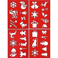 4 Piezas de Estarcido de Navidad Plantilla de Pulverización de Dibujo de Plástico Reutilizable Herramientas de